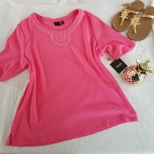 RAFELLA Pink Top with Gold and Braid Detail, XL